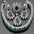 Imitado Conjuntos de Jóias Para As Mulheres de Cor prata Verde Esmeralda CZ Branco Brincos Pulseira Anéis Colar de Pingente de Caixa de Presente Livre