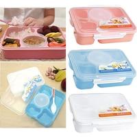 5 in 1 Capacity Dinnerware Sets Plastic Microwave Bento Lunch Box + Spoon Food Container Handle Singel Layer Box Tableware