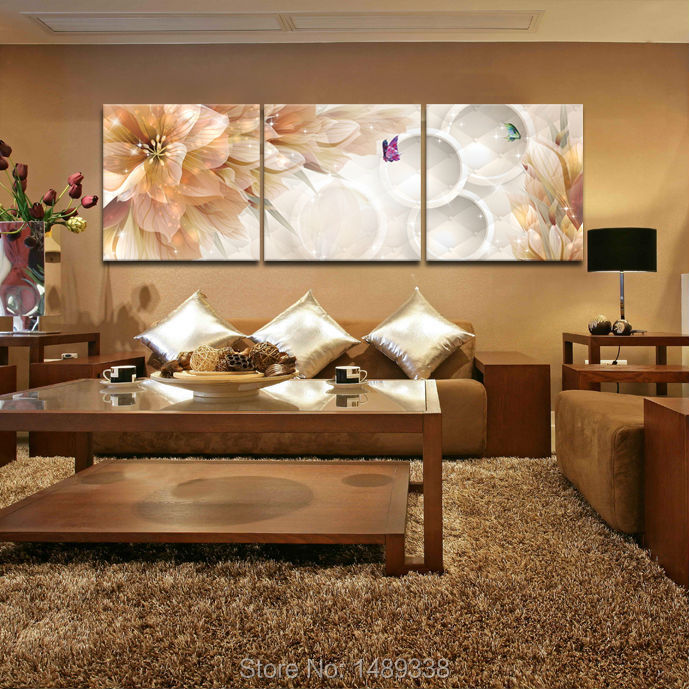 3 Panel Flower Home Decoration Living Room Wall Painting