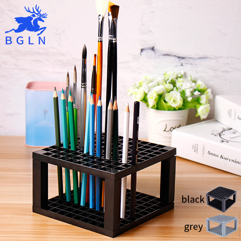 Bgln 1Piece 96Holes Penholder black/grey Paint Brush Pen Holder Rack Display Stand Support Holder Painting Brush For Drawing 49 golf ball display case cabinet holder rack w uv protection