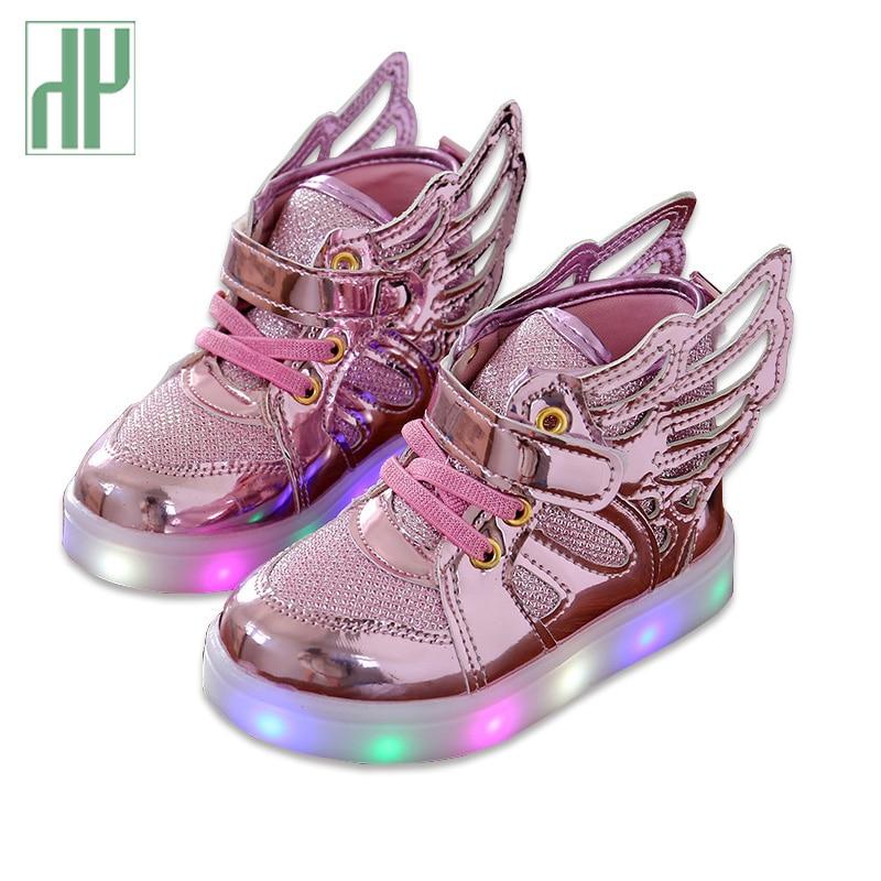 HH Calzado infantil con luz Zapatillas de deporte brillantes para bebés, niñas, niños, niñas, zapatos, alas, lonas, pisos, primavera, niños, zapatos para arriba