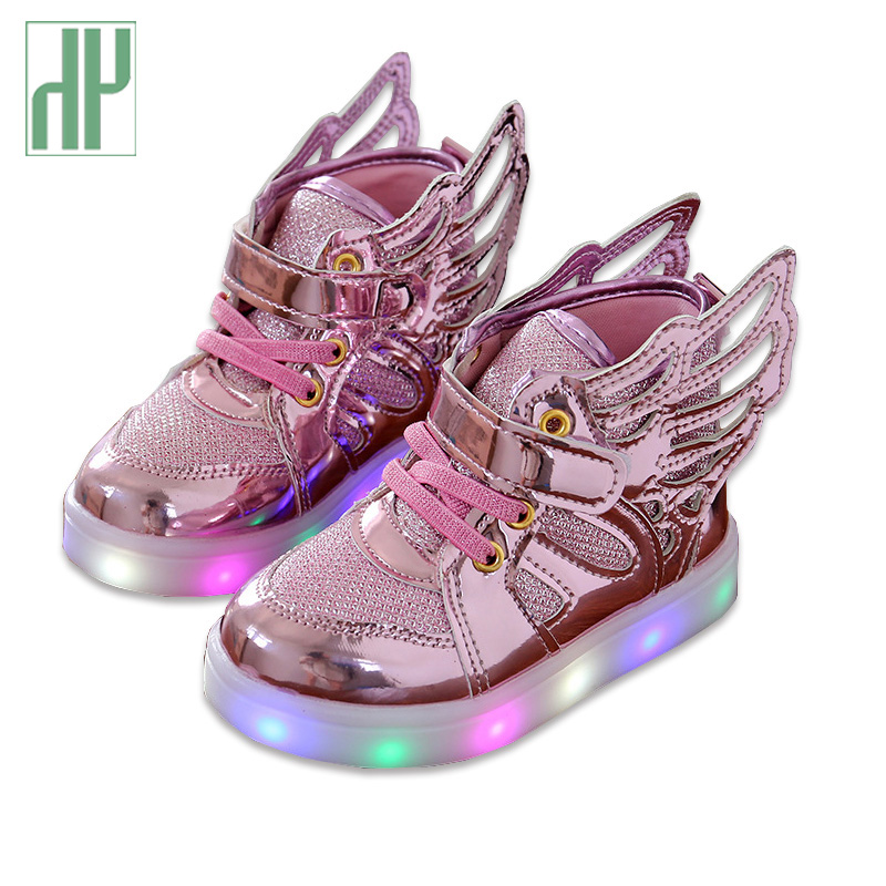 HH Children shoes with light Fashion baby glowing sneakers boys little girls shoes wings canvas flats spring kids light up shoes