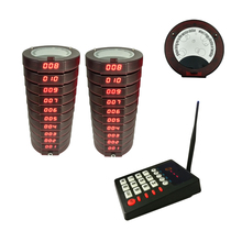 Wireless Fast food Service Equipment Restaurant Guest paging system coaster pagers 1 keyboard with 20 receivers