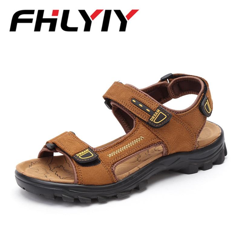 Fashion Sandals Mens Shoes Cow Split Leather Men Sandals Slip On Summer Men Shoes Beach Shoelace Gladiator Sandals Sapatos