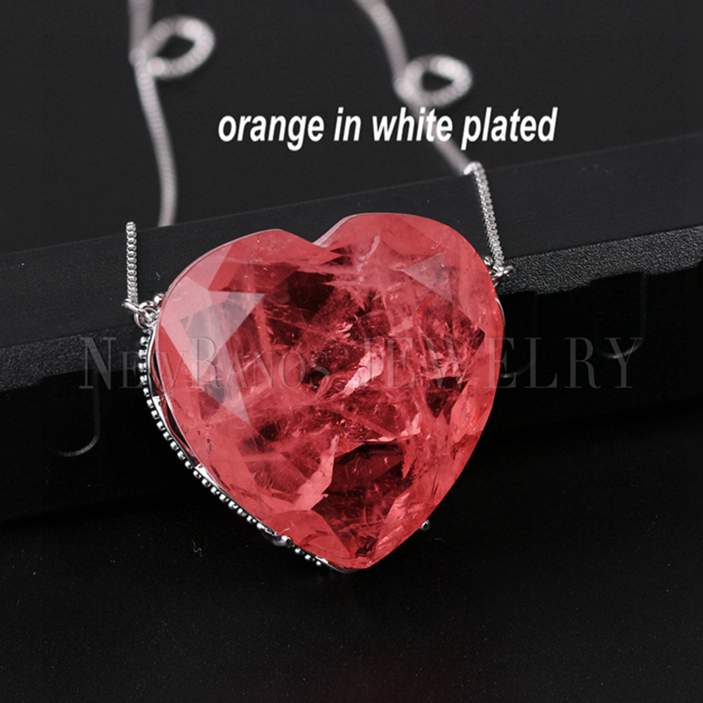 Image 5 - Newranos Pedra Fusion Stone Heart Necklace 10 Colors Birthstone  Pendant Necklaces Crystal Long Chain Necklaces Party JewelryPendant  Necklaces