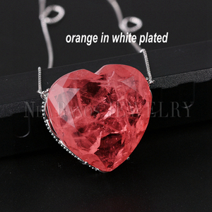 Image 5 - Newranos Pedra Fusion Stone Heart Necklace 10 Colors Birthstone Pendant Necklaces Crystal Long Chain Necklaces Party Jewelry