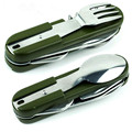 Кемпинг столовые приборы комбинация ложка из нержавеющей стали 105 мм многофункциональный Нож 10 функция с army green ткань покрытия