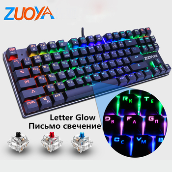 Russian/Enlglish Gaming Mechanical Keyboard Blue Red Switch 87key Anti-ghosting LED light USB Wired game For PC Laptop pro gamer russian english layout metal keyboard blue red switch gaming wired mechanical keyboard rgb anti ghosting for computer