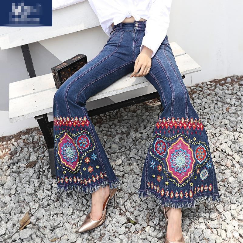 Tamaño Vintage Pantalones Bordado De 3d Mujer Floral Dark Blue Elástico Jeans Moda Mujeres Plus Denim cqAvvzYnxr