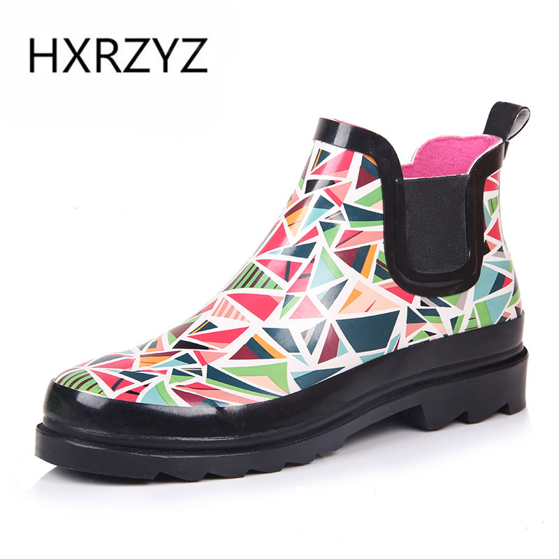 HXRZYZ women rubber boots ladies chelsea ankle rain boots spring/autumn fashion graffiti slip-resistant waterproof women shoes  water shoes spring and autumn woman warm rain shoes and ankle rain boots lady waterproof fashion rubber boots