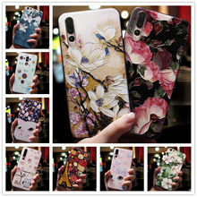 For Huawei Y5 2019 Case 3D Flower Silicone Emboss Phone Cover For Huawei Y9 Y6 2019 Y6 Pro Y7 Prime Cases for Huawei Y9 2019(China)