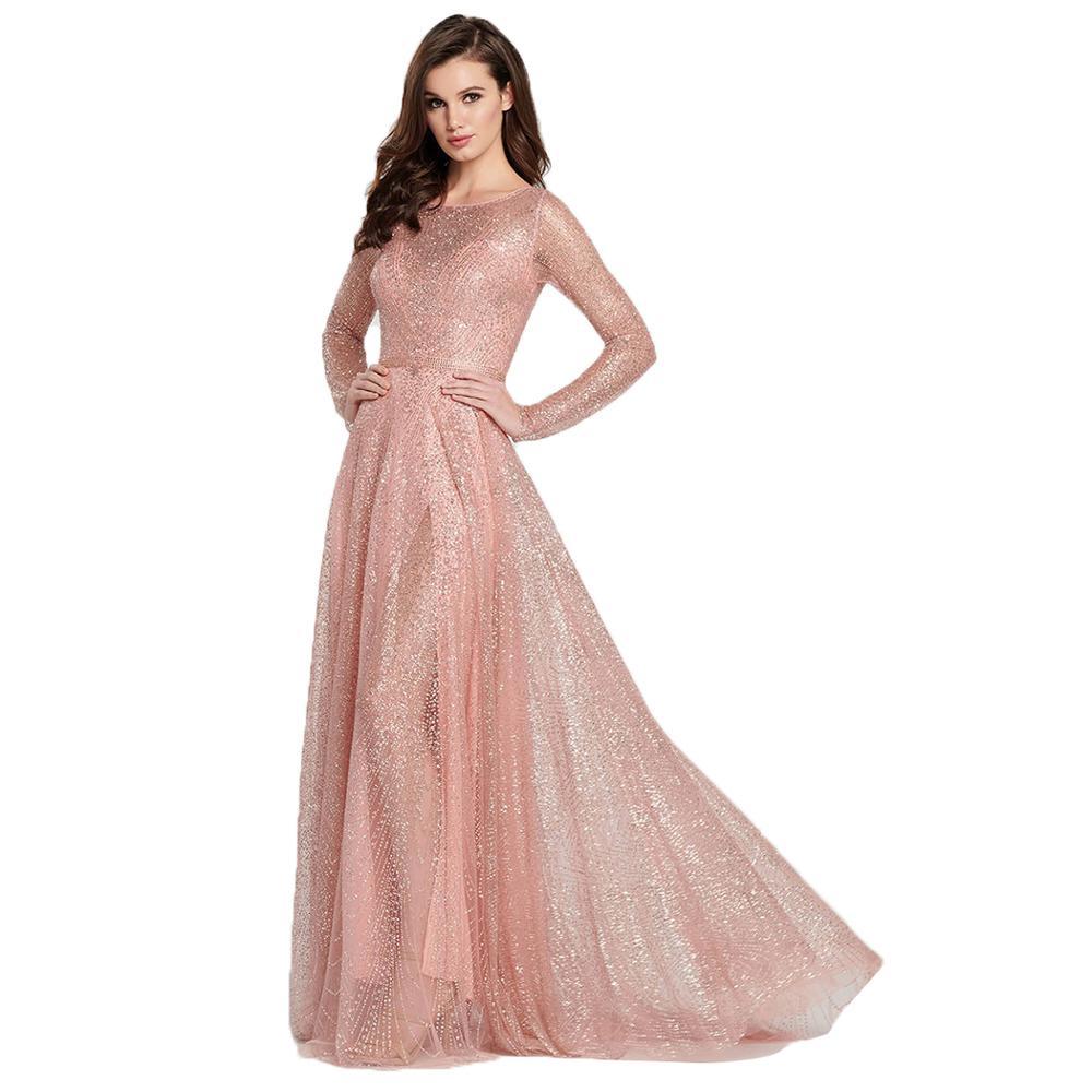 AL'OFA Fashion   Evening     Dress   Women O-neck Long Sleeve A-line Pleated Hem Long Elegant   Dress   Party Proms Ladies   Dresses