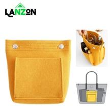 Lanzon Felt Cloth Soft Cosmetic Bag Portable Travel Multi-pockets Storage Bags Women Felt Pure Color Makeup Organizer Handbag