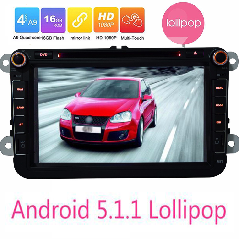 Android 5.1.1 Lollipop Quad Core For VW 1024*600 HD Head Unit 8″ Car GPS Navigation For Volkswagen polo Seat Skoda DVD Player