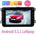 """Android 5.1.1 Lollipop Quad Core Para VW 1024*600 HD Unidad Principal 8 """"Reproductor de DVD de Navegación GPS del coche Para Volkswagen Skoda Asiento polo"""