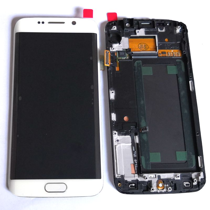 Amoled For <font><b>Samsung</b></font> <font><b>Galaxy</b></font> <font><b>S6</b></font> Edge SM-G925F G925F G925 G925i Lcd Screen+display+Touch <font><b>Glass</b></font> Frame Assembly <font><b>Replacement</b></font> Amoled image