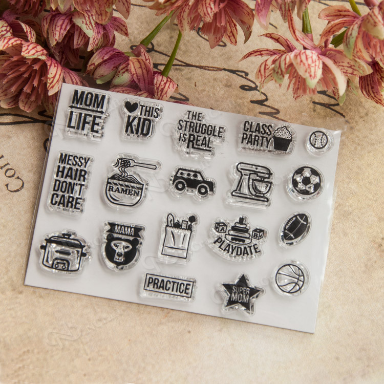Mom Life Football Words Transparent Clear Silicone Stamp for Seal DIY Scrapbooking Photo ...