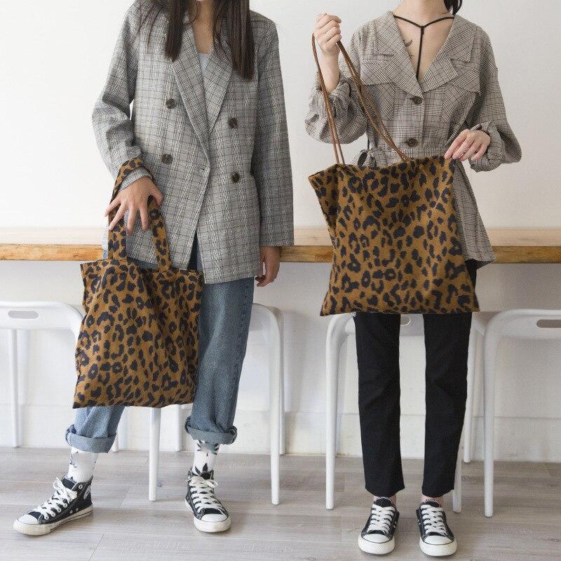 Handbags Totes Canvas Bag Print Shoulder Leopard Large-Capacity Corduroy Women Ladies