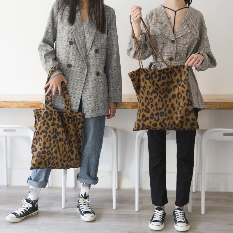 Corduroy Leopard Print Canvas Bag  Ladies Shoulder Casual Tote Shopping Bag Large Capacity Handbags Totes Women