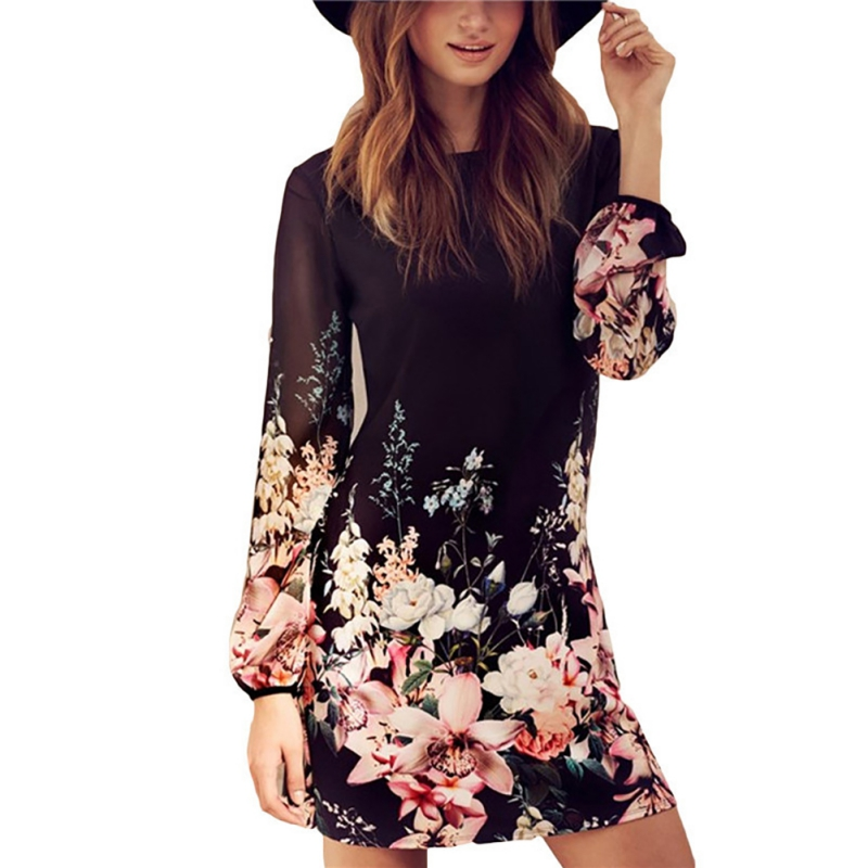 EFINNY Fashion Femininos Crochet Floral Lace Embroidery Dresses Sheer Boho Dresses Commemorative Bell Sleeve Dress floral chiffon dress long sleeve