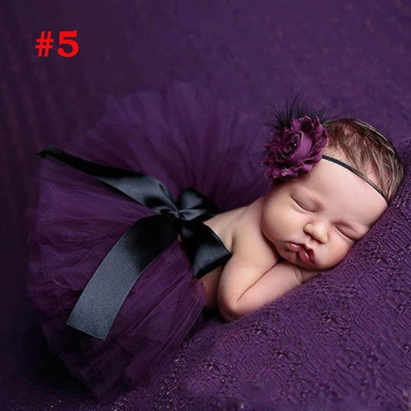 Лидер продаж; фатиновая юбка-пачка для маленьких девочек и повязка на голову с цветами; Комплект для новорожденных; реквизит для фотосессии; подарок на день рождения; 10 цветов; ZT001 - Цвет: Skirt and Headband 5
