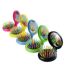 1 Pcs Creative Makeup Comb Portable Small Pocket Travel Massage Folding Comb Fashion Women Girls Airbag Massage Round Hair brush vintage style portable folding airbag massage comb with mirror
