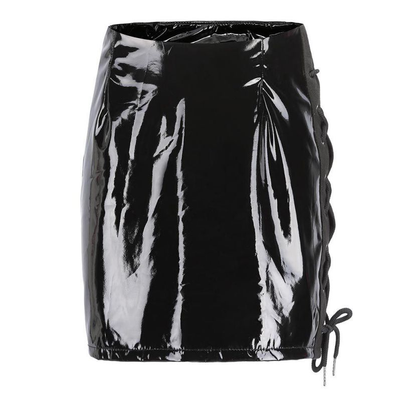 2018 Sexy PU Faux Leather Skirt Lace Up Glossy PU leather skirt Autumn winter pocket short women skirt Casual black slim mini sk