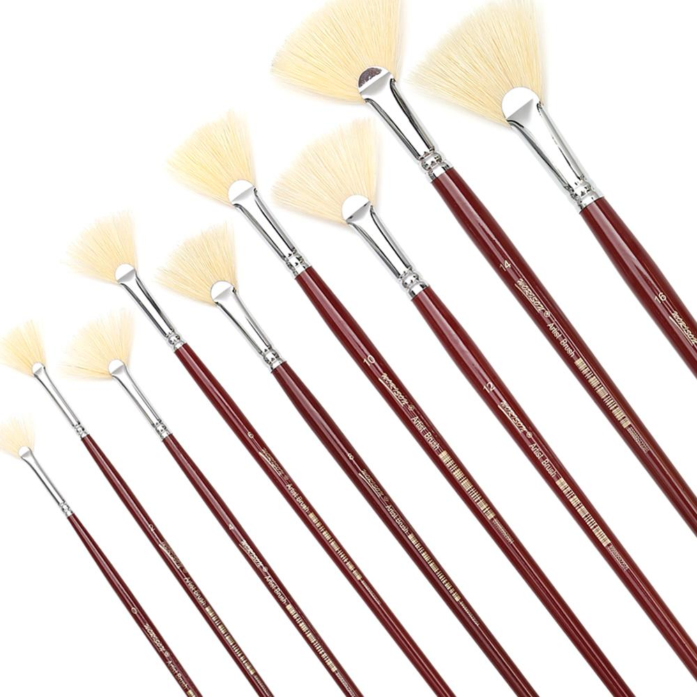 Dainayw 9 Fan White Bristles Long Handle Paint Brushes Pen Professional Artist Oil Acrylic Painting Brush Set Painting