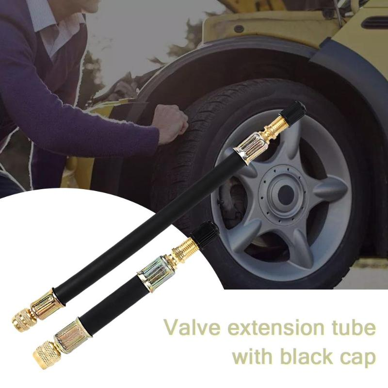 100/140/190MM Valve Caps Flexible Rubber Hose Car Wheel Valve Stem Tire Valve Extension With Cap Universal Tire Valve Extension