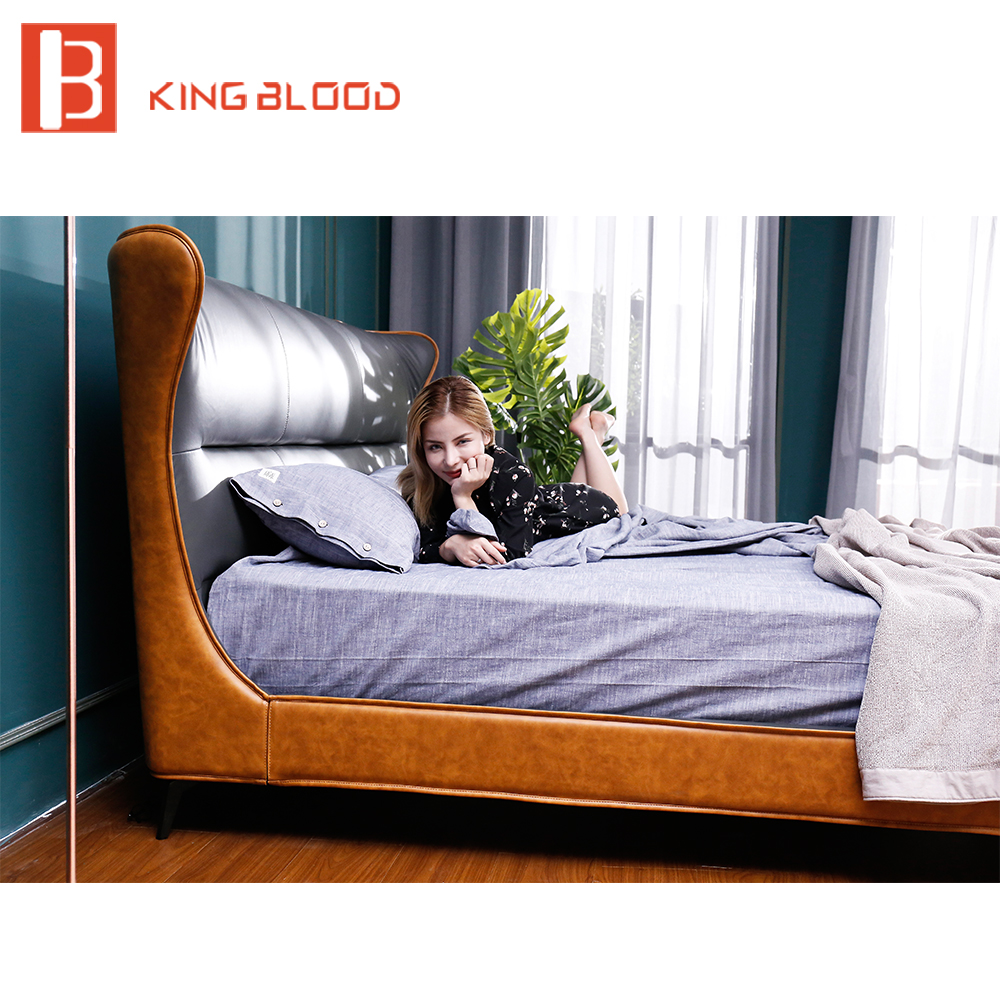 Italian bed frame king size leather bed designs