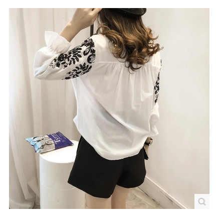 Блузка с вышивкой рубашка с хлопком Женские Блузки Camisas Femininas белые черные вышитые топы Летняя модная женская одежда