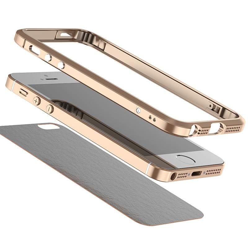 imágenes para Con Cuero Back Sticker! Superior de la manera en forma de Diamante de Metal de Aleación de Teléfono Móvil Caso de Parachoques Para el iphone SE 5 5S Con Tornillos