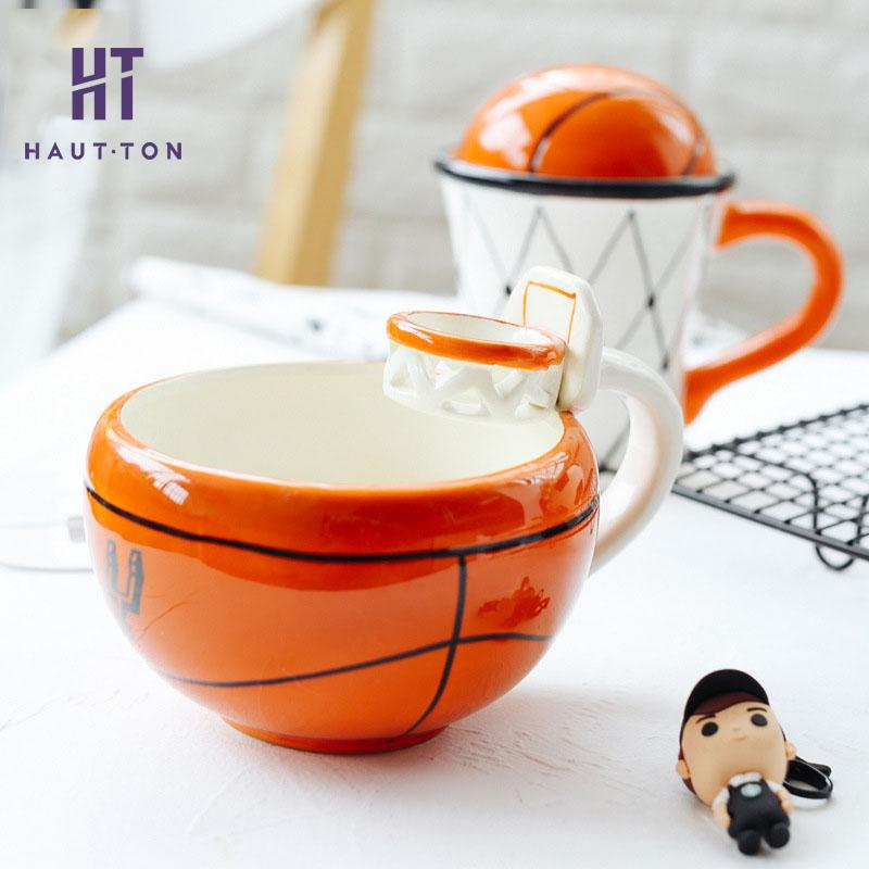 Creative Coffee Mug Basketball Football Pattern Cup Ice Cream Tea Coffee Mugs with Hand Grip Newest Product Selling F