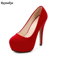 2018 New Style Shoes Woman Round Toe Flock Leather High Heels Platform Pumps Office Lady Dress Shoes Red Black MS A0007