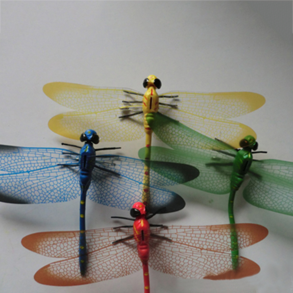 5pcs 3D Simulation Dragonflies Plastic Fridge Magnet for Home Car Decoration Color Random