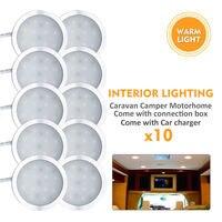 10X 12V Warm White Caravan Camper Trailer Car Boat LED Down Light Ceiling Lamp