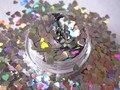 Corazones de Plata holográfica [3mm] Brillo Resistente A los Disolventes, Arte del clavo, Franken Polaco
