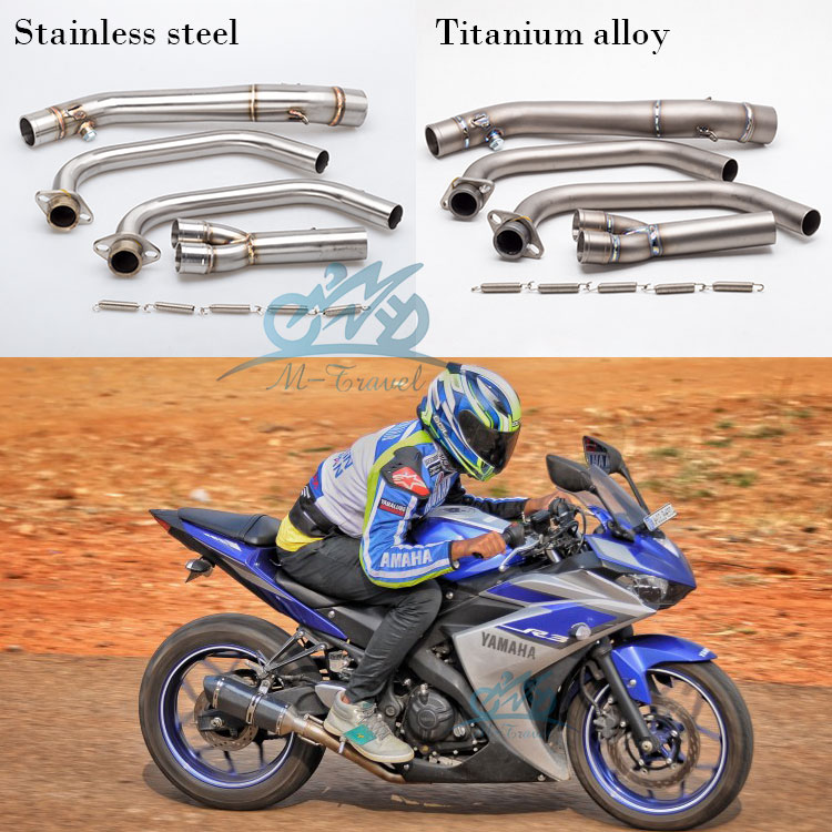 Motorcycle <font><b>exhaust</b></font> motorcycle muffler Stainless Steel titanium alloy R25 middle pipe <font><b>R3</b></font> Link Mid Pipe For r25 <font><b>r3</b></font> <font><b>exhaust</b></font> MT03 image