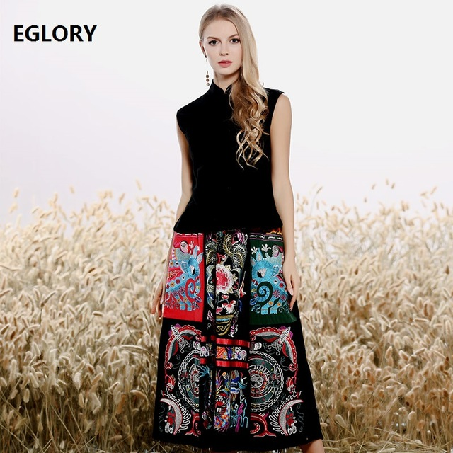 Women's Clothing Suit 2020 Spring Summer Fashion Skirt Set Ladies Sleeveless Tank Black Blouse+Vintage Embroidery Skirt Suits