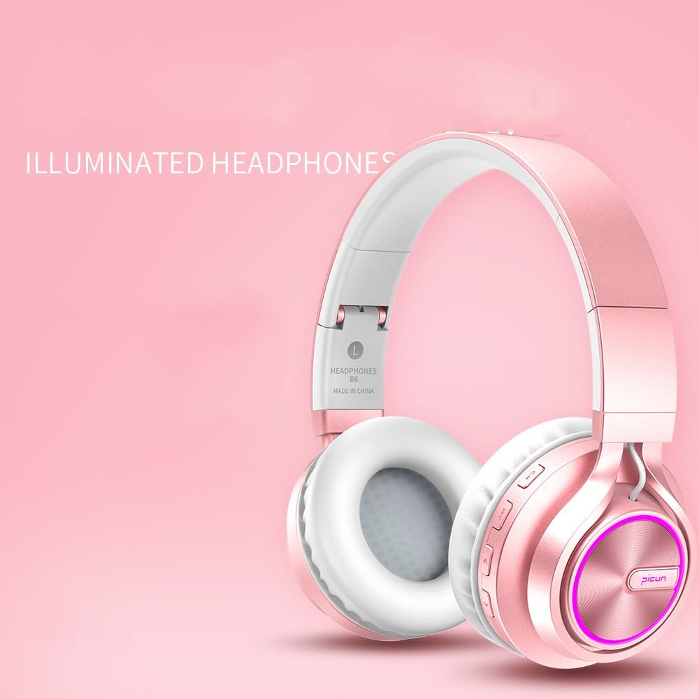 Cuffie stereo Hi-Fi Bass Head, cuffie senza fili Bluetooth 4.1 con microfono TF Card, cuffie in oro rosa per le ragazze