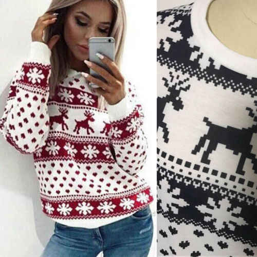 f2c90fd55da38 Detail Feedback Questions about 2018 Fashion Christmas Women Long Sleeve  Casual Snowflake Red Deer Maple Leaf Pattern Winter Sweater Pullover Tops  on ...