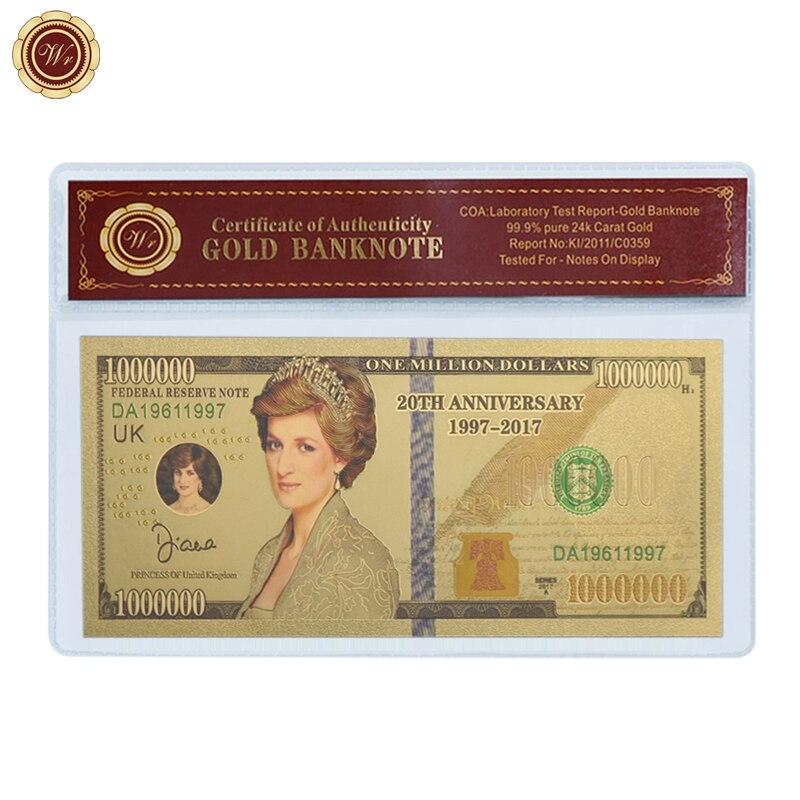 WR Diana prenses altın folyo banknot ev dekorasyonu renkli prenses galler altın banknot festivali hatıra