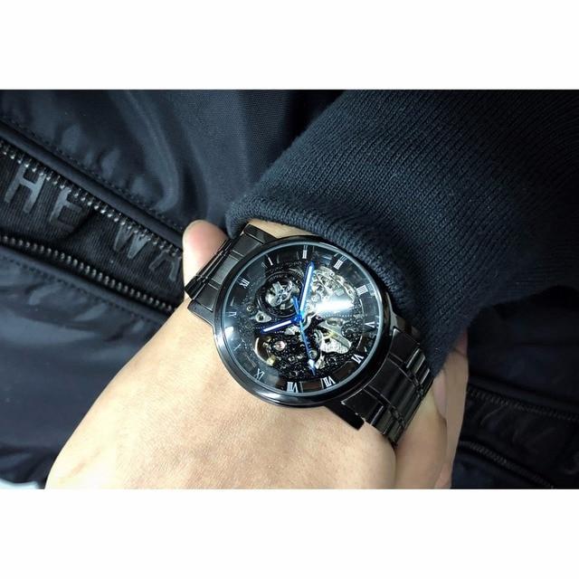 Winner Transparent Steampunk Montre Homme Black Retro Casual Mens Watches Top Brand Luxury Full Steel Skeleton Mechanical Watch 6