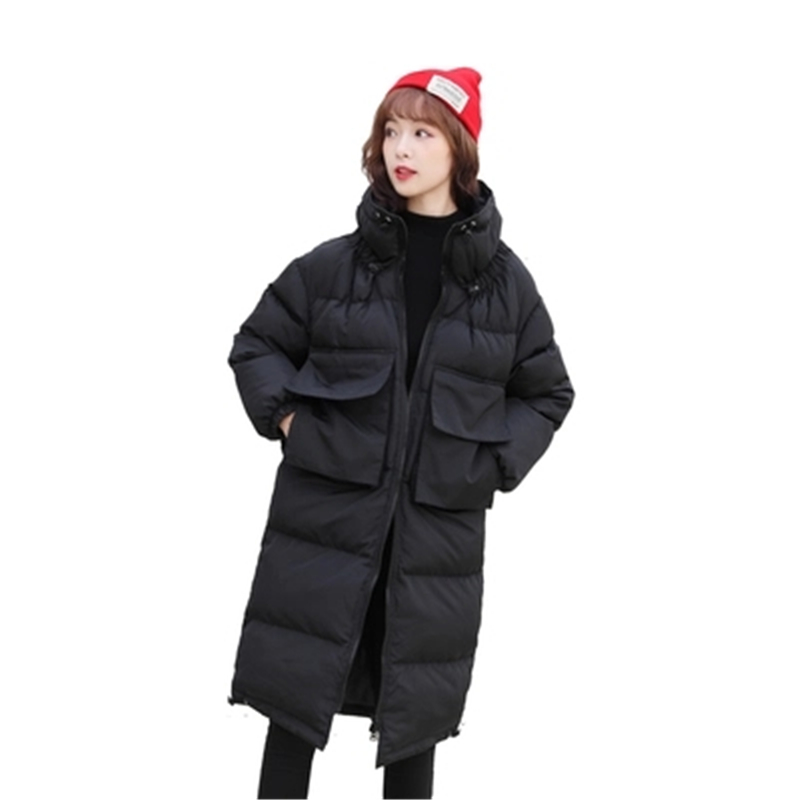 2018 Winter Loose Women's   Parkas   Outerwear Large Size Warm Thick Overcoat Stand Collar Big Size Female Cotton Coat   Parkas   D897
