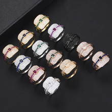 SISCATHY 13Colors Charms AAA Cubic Zircon Gorgeous Wide Fingers Rings For Women Luxury Bridal Wedding Engagement Jewelry