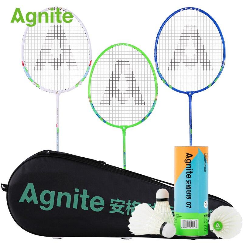 Agnite officiel raquette de badminton 3 pcs/lot amateur divertissement tenue pour la famille résistance sport fitness cadeaux 3 pièces balles d'entraînement