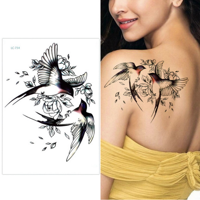Big Flower arm tattoo Temporary Tattoo Sticker Sparrow/Magpie Fake Tatoo Sleeve Flash Tatto Waterproof Body Art Women sexy girls 5