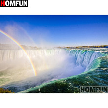 HOMFUN Full Square/Round Drill 5D DIY Diamond Painting Rainbow waterfall Embroidery Cross Stitch Home Decor Gift A18260