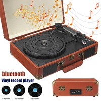 New Vintage 33/45/78 RPM Brown Wireless bluetooth ortable Suitcase Turntable Vinyl Record Phone Player Aux in Line out 100 240V