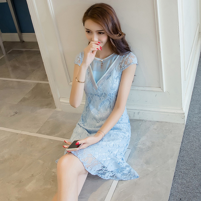3502c1d6f558 CAMTY Butterfly Ruffle Lace Patchwork Mesh Dress Korean Style Dress Summer  Slim Waist Dress Women Elegant Vintage Clothing